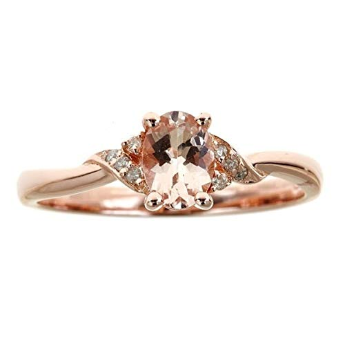 Gin & Grace Valentine's Jewelry 10K Rose Gold Natural Diamond & Genuine Morganite Twist Propose Promise Ring for Women