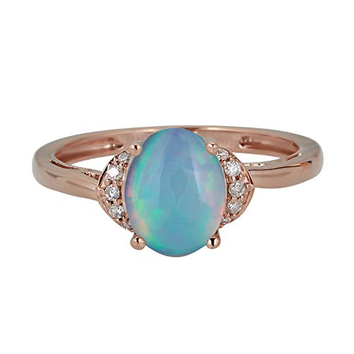 Gin & Grace Valentine's Jewelry 10K Rose Gold Natural Opal & Natural Diamond (I1,I2) (Size 7) Propose Promise Ring for Women
