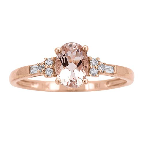 Gin & Grace Valentine's Jewelry 10K Rose Gold Genuine Morganite & Natural Diamond Engagement Promise Propose Promise Ring for Women