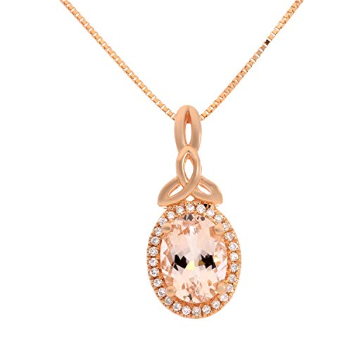 Gin & Grace Valentine's Jewelry 10K Rose Gold Genuine 2Ct Morganite Diamond (I1,I2) Holy Trinity Knot Pendant for Women