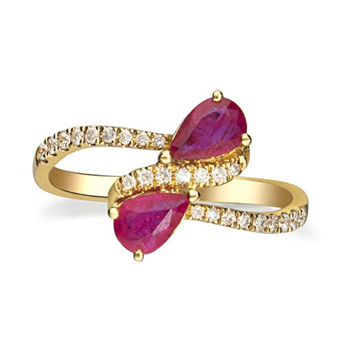 Gin & Grace 10K Yellow Gold Natural Diamond (I1,I2) & Pear Cut Ruby Twist Anniversary Engagement Eternity Ring for Women