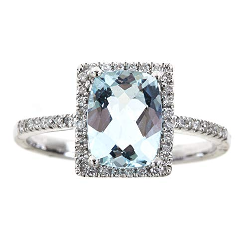 Gin & Grace Valentine's Jewelry 14K White Gold Genuine 1.75Ct Aquamarine & Natural Diamond Engagement Promise Band Style Propose Promise Ring (Size 7) for Women