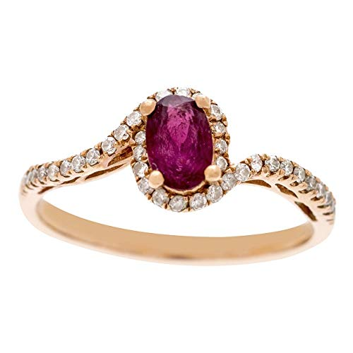Gin & Grace Valentine's Jewelry 10K Yellow Gold Genuine Ruby Diamond (I1,I2) Propose Promise Ring for Women