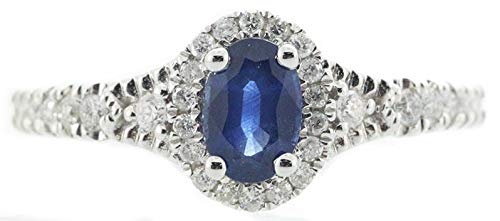 Gin & Grace 10K White Gold Natural Blue Sapphire Diamond (I1-I2) Wedding Anniversary Engagment Ring (Size 7) for Women