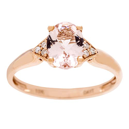 Gin & Grace Valentine's Jewelry 10K Rose Gold Genuine Morganite & Natural Diamond (I1,I2) (Size 7) Propose Promise Ring for Women