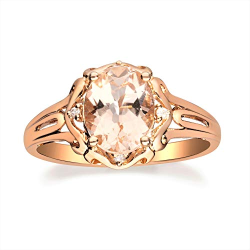 Gin & Grace Valentine's Jewelry 10K Rose Gold Genuine Morganite & Natural Diamond (I1,I2) Cocktail Propose Promise Ring for Women
