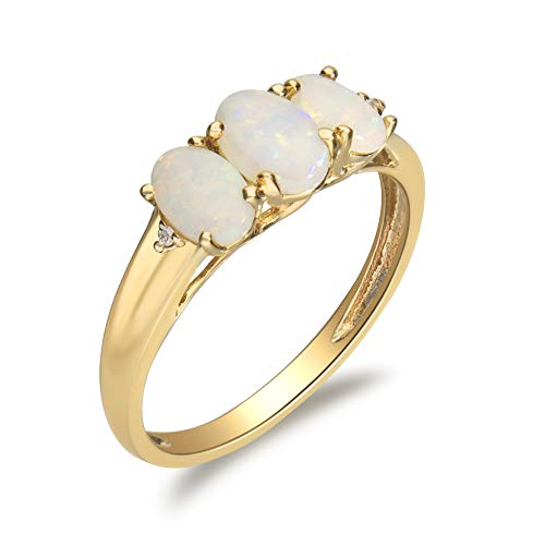 Gin & Grace Valentine's Jewelry 10K Yellow Gold Natural Opal & Diamond (I1,I2) (Size 5) 3 Stone Propose Promise Ring for Women