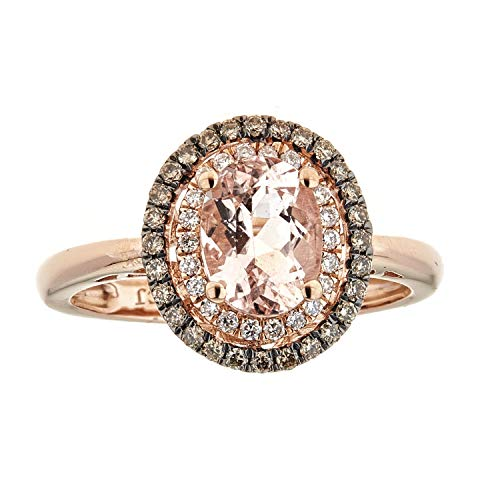 Gin & Grace Valentine's Jewelry 14K Rose Gold Genuine Morganite with Natural Brown and White Diamond Big Antique Cocktail Propose Promise Ring for Women