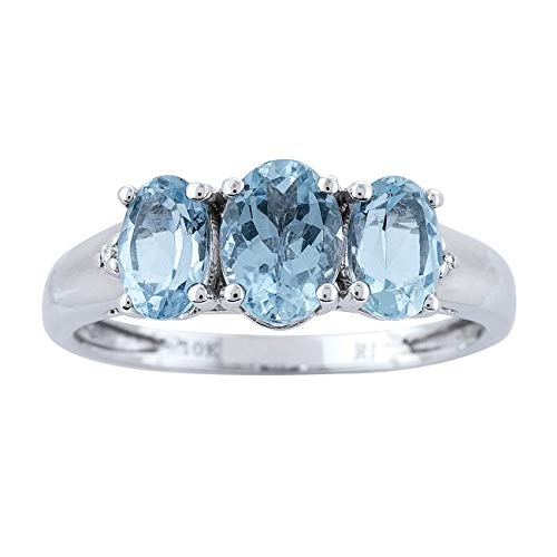 Gin & Grace 10K White Gold Blue Natural Diamond & Blue Aquamarine 3 Stone Anniversary Engagement Promise Ring for Women