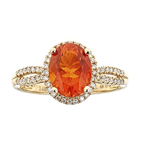 Gin & Grace 14K Yellow Gold Natural Fire Opal Diamond (I1,I2) Twirl Anniversary Engagement Promise Ring (Size 7) for Women