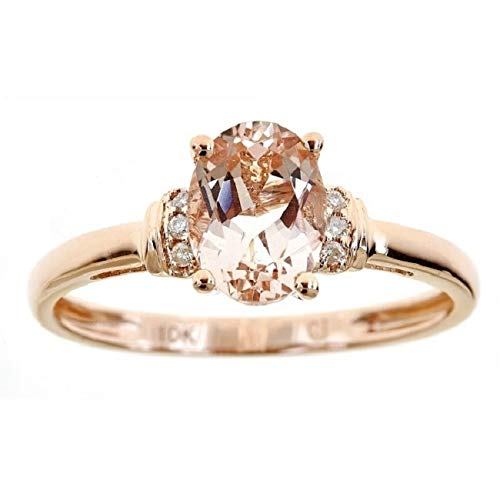 Gin & Grace Valentine's Jewelry 10K Rose Gold Genuine Morganite & Natural Diamond (I1,I2) Statement Cocktail Propose Promise Ring for Women