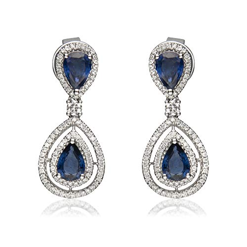 Gin & Grace Valentine's Jewelry 18k White Gold Genuine Blue Sapphire Diamond (SI1) Drop Earring for Women