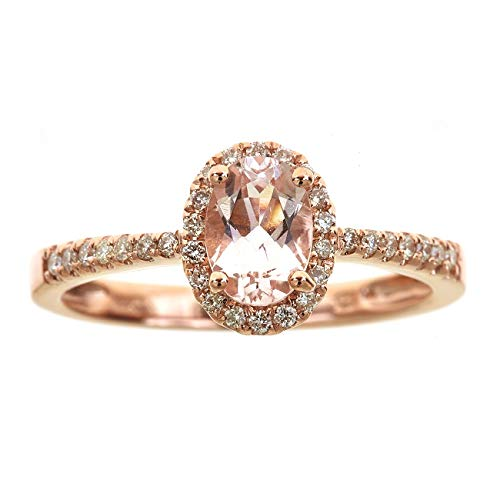 Gin & Grace Valentine's Jewelry 14K Rose Gold Oval Cut Genuine Morganite Natural Diamond Engagement Promise Propose Promise Ring for Women