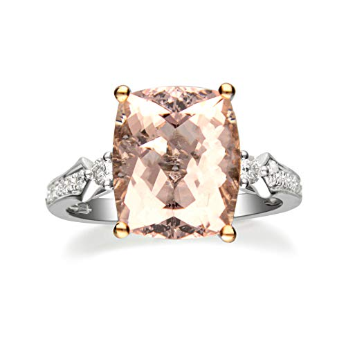 Gin & Grace Valentine's Jewelry 14K Two-Tone Gold Genuine Morganite Diamond (I1,I2) Bridal Set Propose Promise Ring for Women