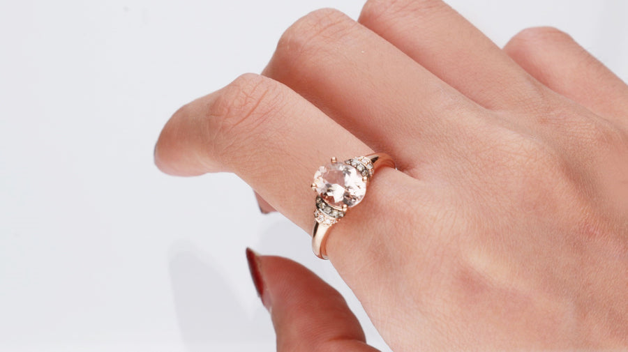 Gin & Grace Valentine's Jewelry 10K Rose Gold Genuine Morganite Diamond (I1,I2) Propose Promise Ring for Women