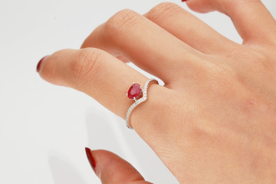 10K White Gold Ruby & Diamond Ring