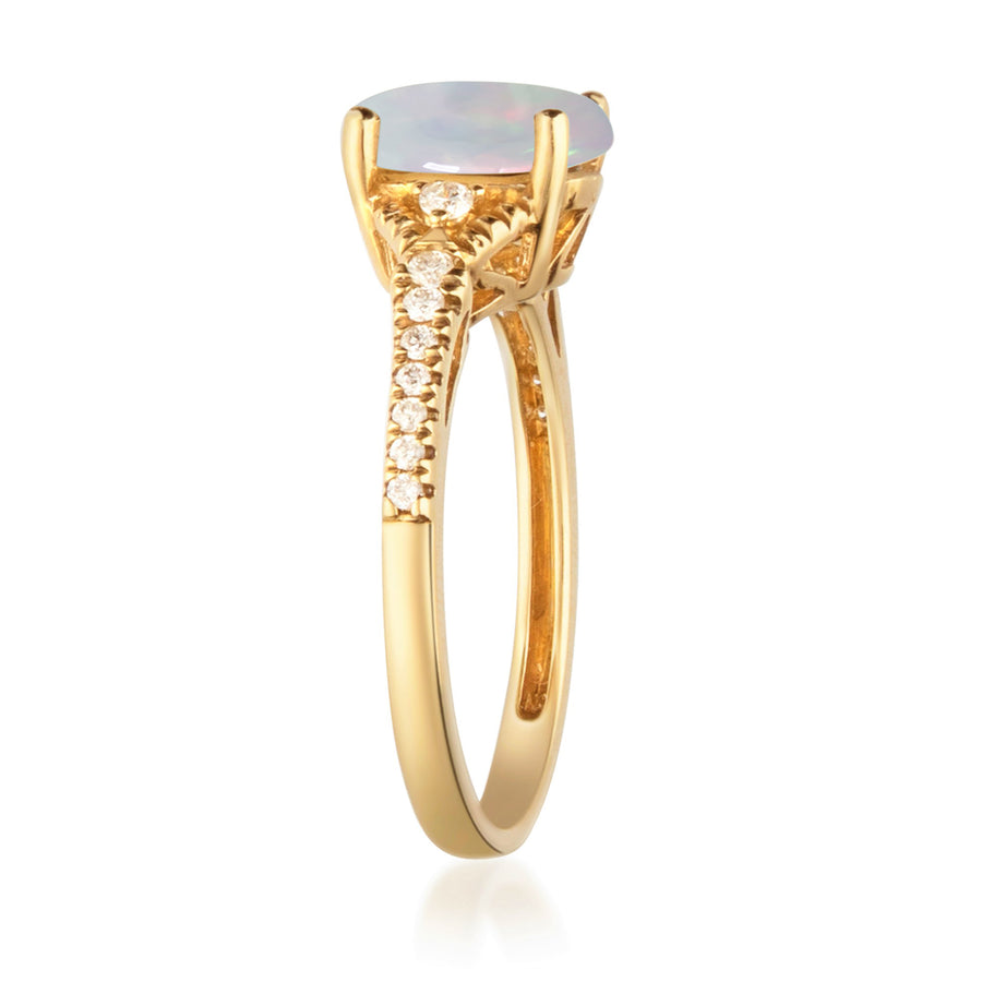 Gin & Grace 10k Yellow Gold Oval-cut Australian Opal and Diamond (I1,I2) Anniversary Engagement Ring for Women
