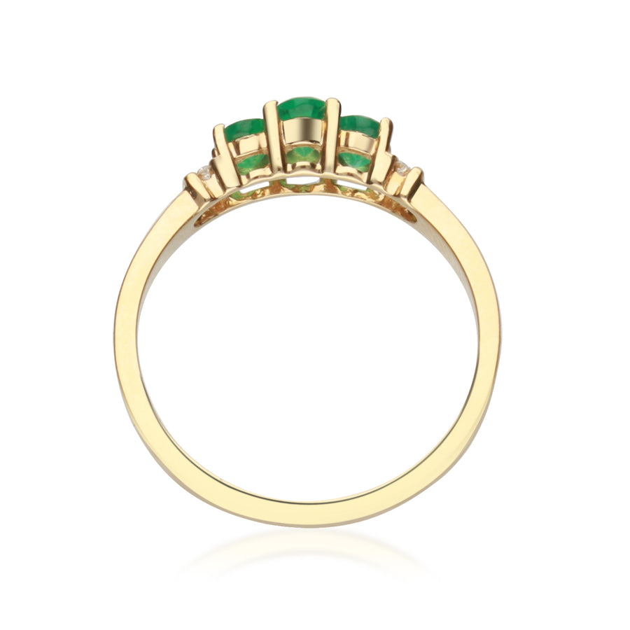 Gin & Grace Valentine's Jewelry 14K Yellow Gold Natural Emerald Diamond (I1,I2) Engagement Propose Promise Ring for Women