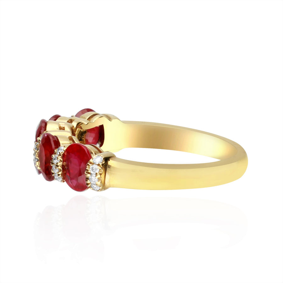 Gin & Grace Valentine's Jewelry 14K Yellow Gold Genuine Ruby Diamond (I1,I2) Engagement Propose Promise Ring for Women