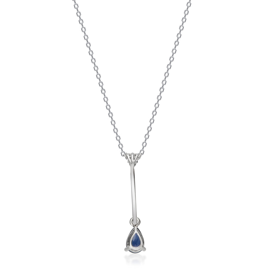 Gin & Grace Valentine's Jewelry 14K White Gold Genuine Blue Sapphire Diamond (I1,I2) Necklace with Chain for Women
