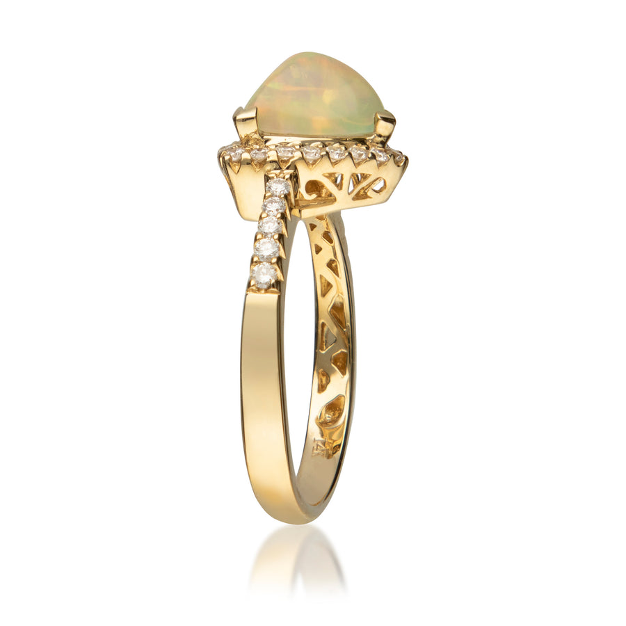 Gin & Grace 14K Yellow Gold Natural Diamond (I1,I2) & Ethiopian Opal Anniversary Engagement Ring for Women
