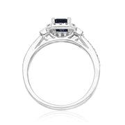 14K White Gold Genuine Blue Sapphire Diamond (SI1)  Ring for Women