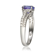 14k White Gold Genuine Tanzanite Diamond (SI1)  Ring for Women