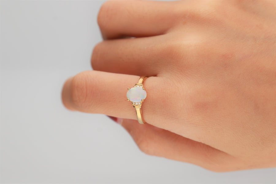 Gin & Grace Valentine's Jewelry 14K Yellow Gold Natural Opal & Diamond (I1,I2) (Size 7) Statement Cocktail Propose Promise Ring for Women