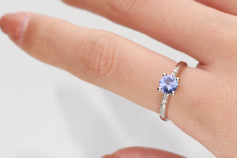 925 Sterling Silver Diamond & Tanzanite Ring