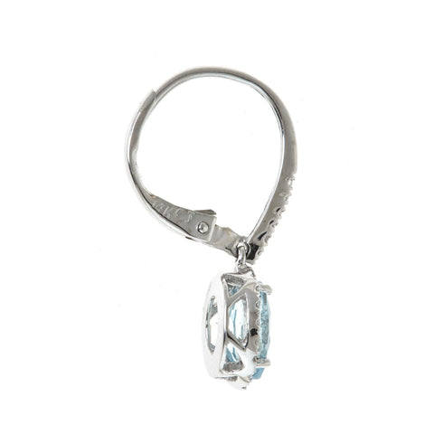 1.35 Carat Genuine Aquamarine Diamond (SI1)  14k White Gold Earring for Women