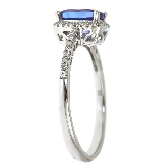 Gin & Grace 10K White Gold Blue Natural Diamond & Blue Tanzanite Anniversary  Engagement Wedding Ring for Women