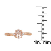 10K RG Morganite and Diamond Ring