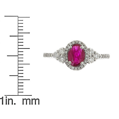 14K White Gold   Genuine Ruby Diamond (SI1)  Ring for Women