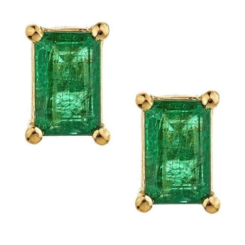 1.07 Carats Natural Emerald 14K Yellow Gold  Earring for Women