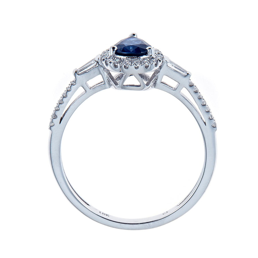 Gin & Grace 18K White Gold Natural Blue Sapphire Diamond (SI1-SI2) Wedding Anniversary Engagement Band Style Ring for Women