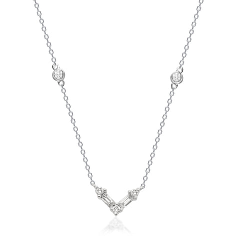0.16 Carat Natural White Diamond (SI) 14K White Gold Necklace for Women