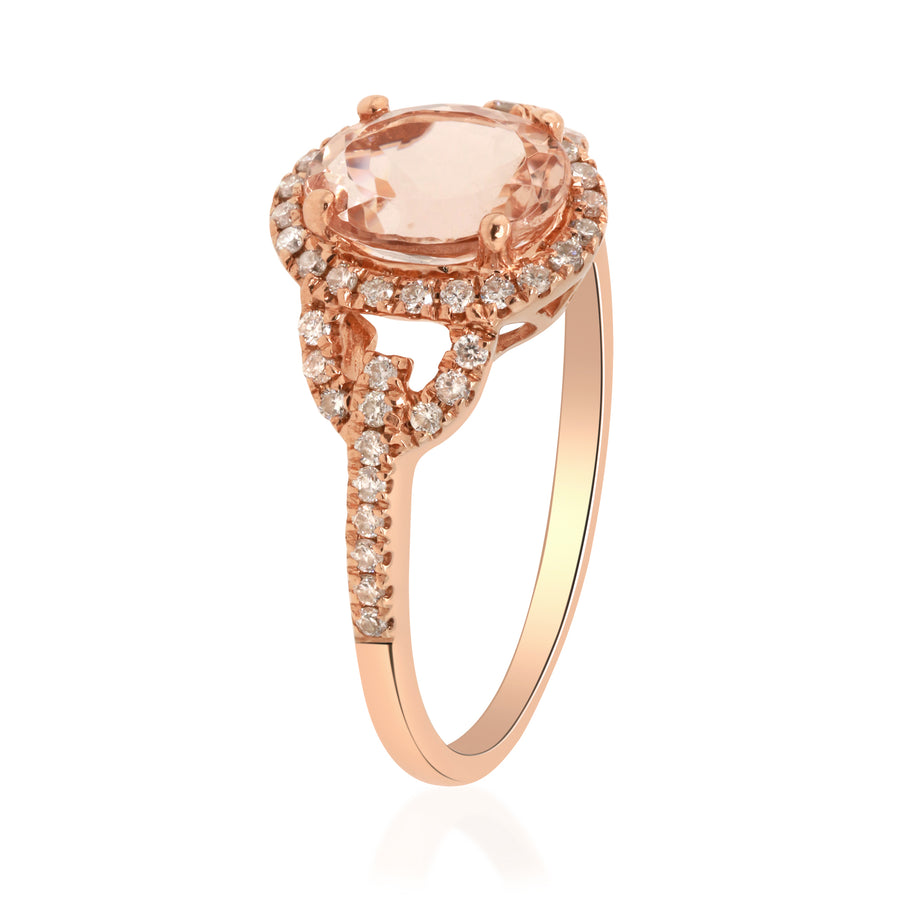 14K Rose Gold Genuine Morganite Diamond Ring