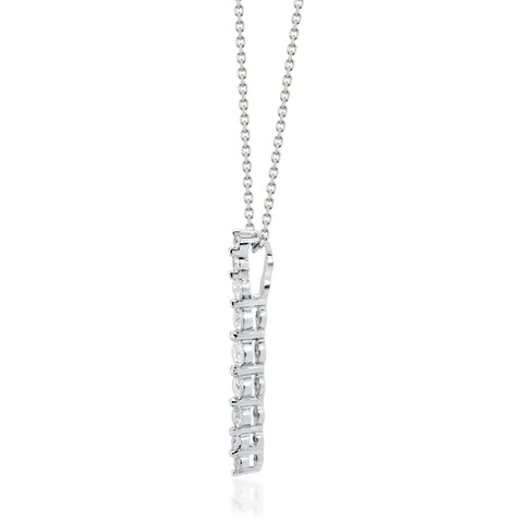 0.27 Carat Natural White Diamond (SI) 18K White Gold Necklace for Women