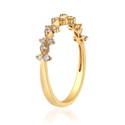 1 /4  Carat Natural White Diamond (SI) 18K Yellow Gold Ring for Women