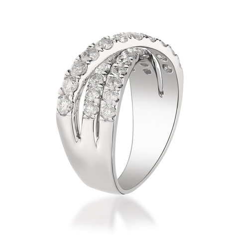 1.41 Carats Natural White Diamond (SI) 14K White Gold Ring for Women