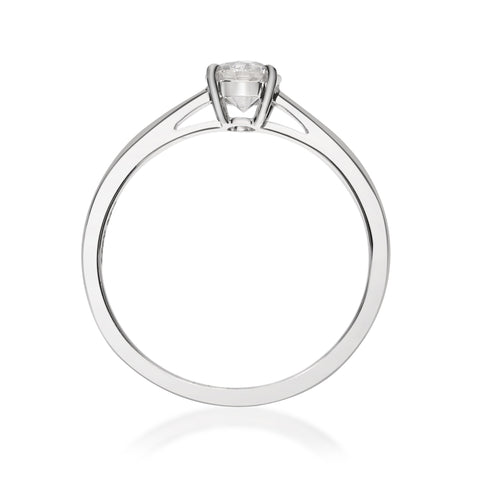 0.53 Carats Natural White Diamond (SI) 18K White Gold Ring for Women
