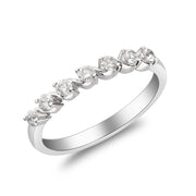 0.32 Carats Natural White Diamond (SI)  18K White Gold Ring for Women