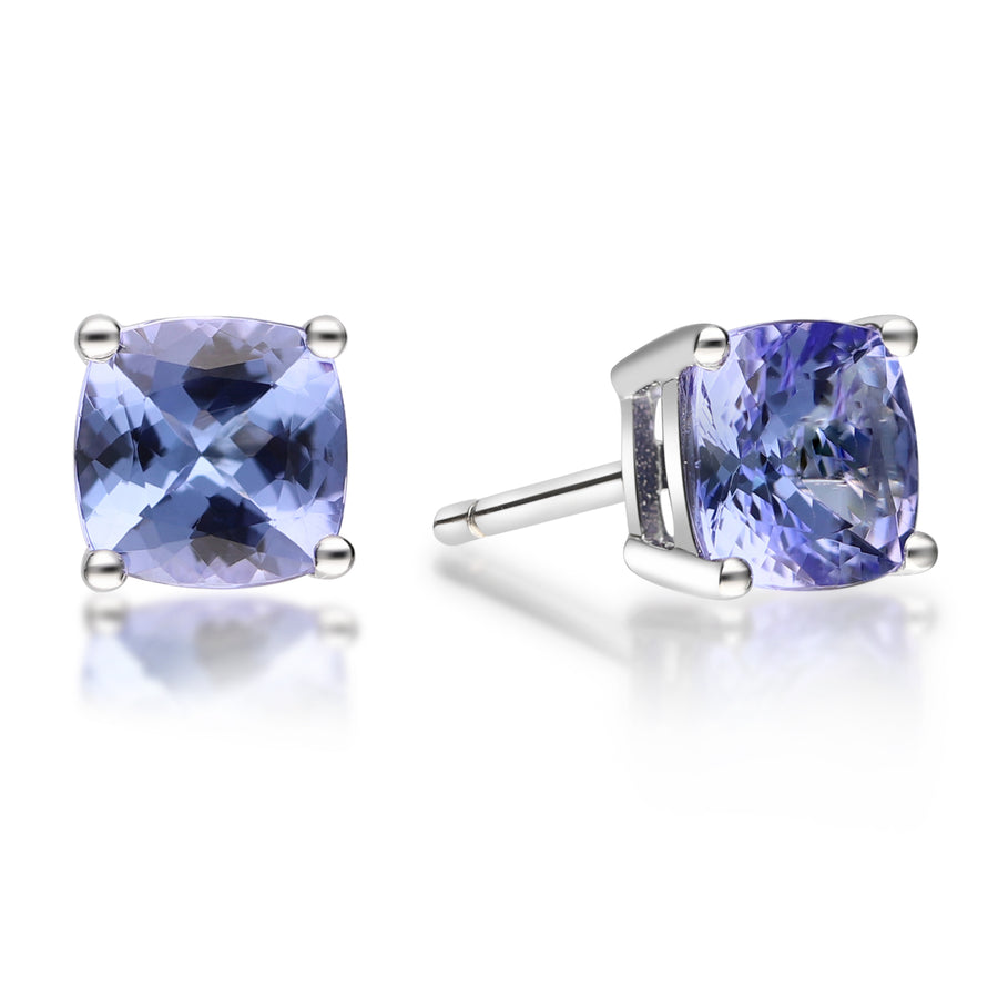 14k White Gold  Tanzanite & Diamond Earring