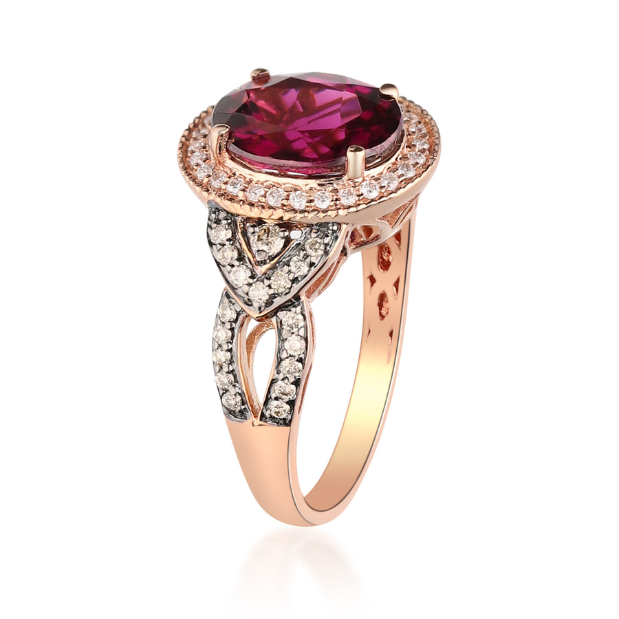 14K Rose Gold Rodholite Garnet & Diamond Ring