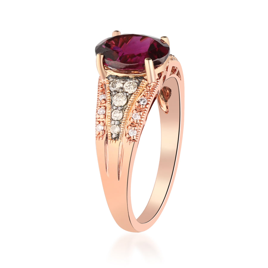 10K Rose Gold Rodholite Garnet & Diamond Ring