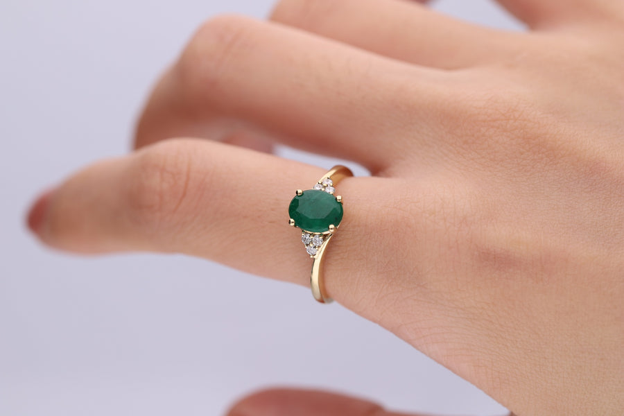 Gin & Grace Valentine's Jewelry 14K Yellow Gold Natural Diamond (I1,I2) & Natural Emerald Statement Propose Promise Ring for Women