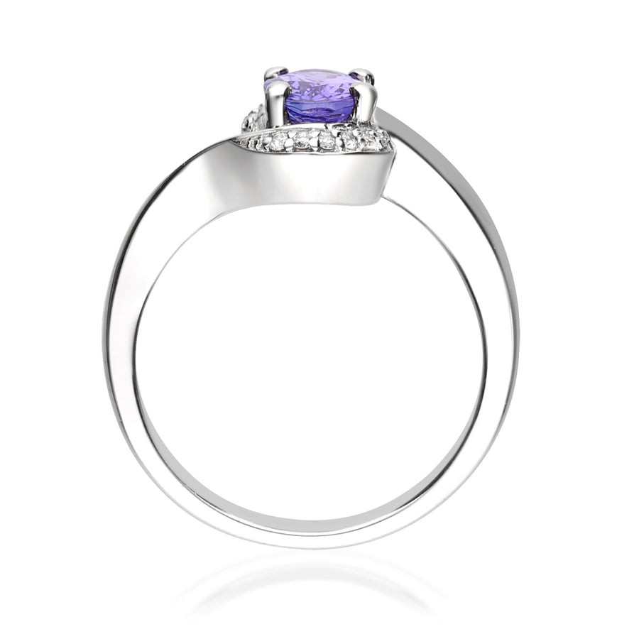 Gin & Grace Valentine's Jewelry 925 Sterling Silver Natural Diamond (I1,I2) & Blue Tanzanite Engagement Propose Promise Ring (Size 7) for Women