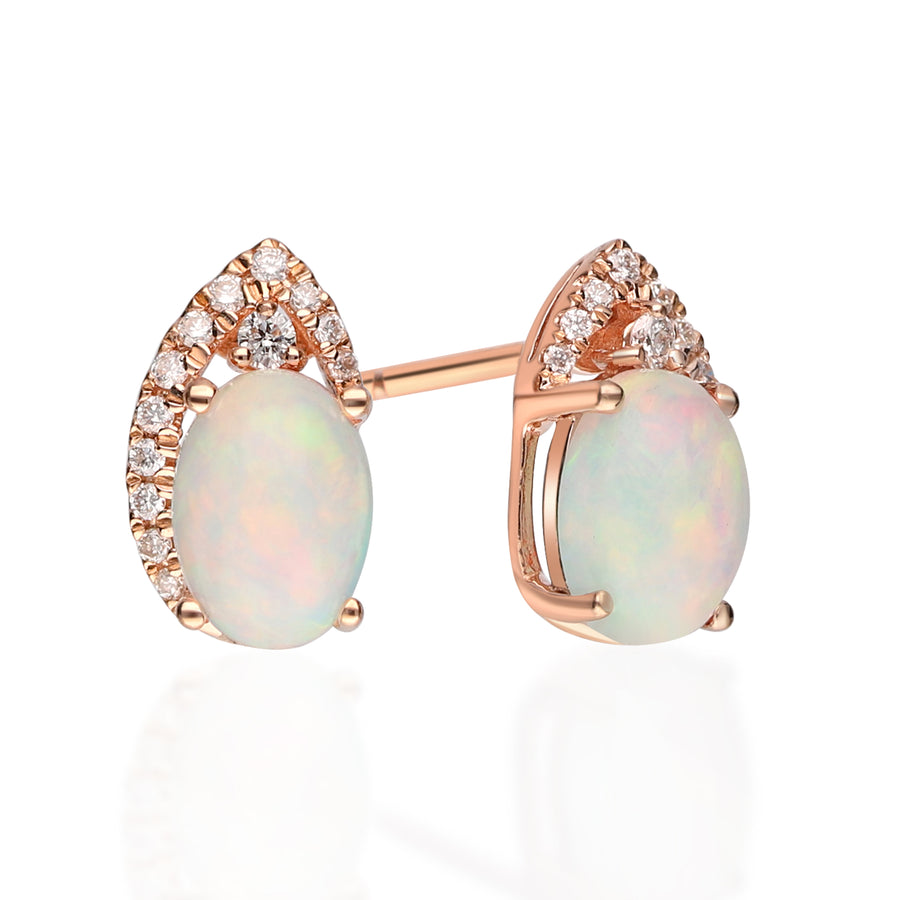 14K Rose Gold Opal & Diamond Earrings