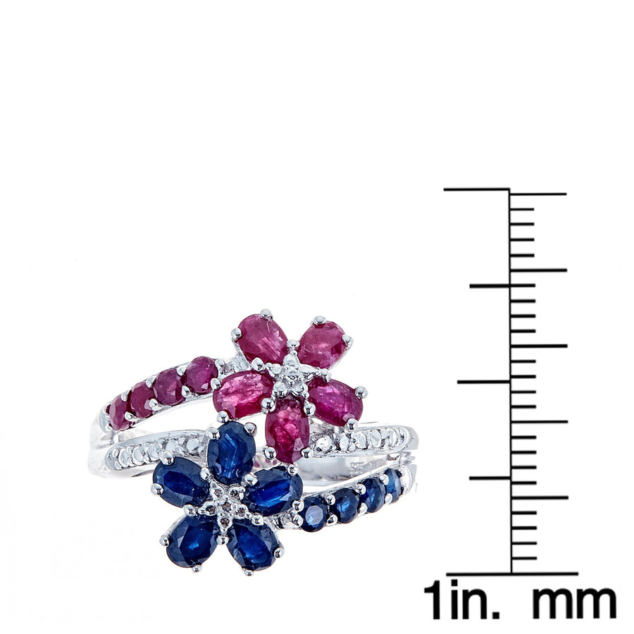 Gin & Grace Valentine's Jewelry 925 sterling silver Genuine Blue Sapphire, Ruby with Natural Diamond (I1,I2) Statement Cocktail Propose Promise Ring for Women
