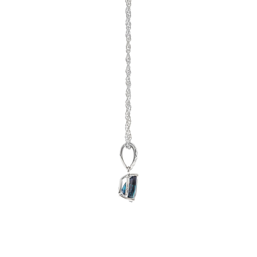 Gin & Grace Valentine's Jewelry 10K White Gold Genuine Blue Sapphire Natural Diamond (I1,I2) Pendant for Women